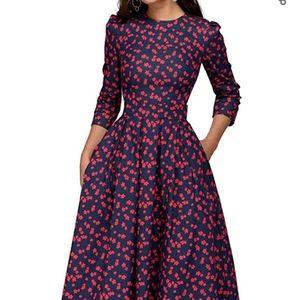 3/4 length sleeved midi floral dress